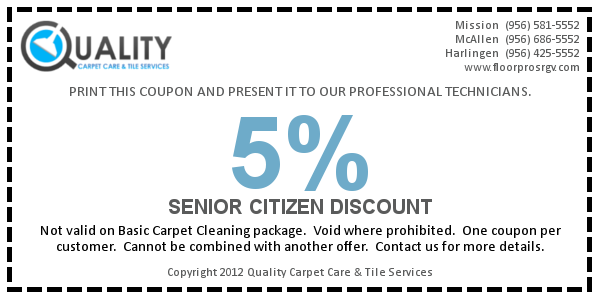 Receive 5% discount when you mention you're 65 years or older.