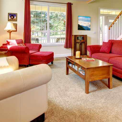 Living room with carpet and upholstered furniture